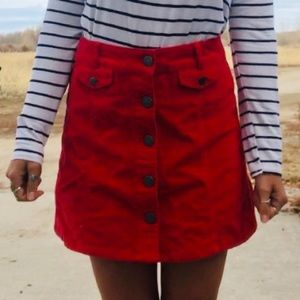 Red Corduroy Button Up Skirt